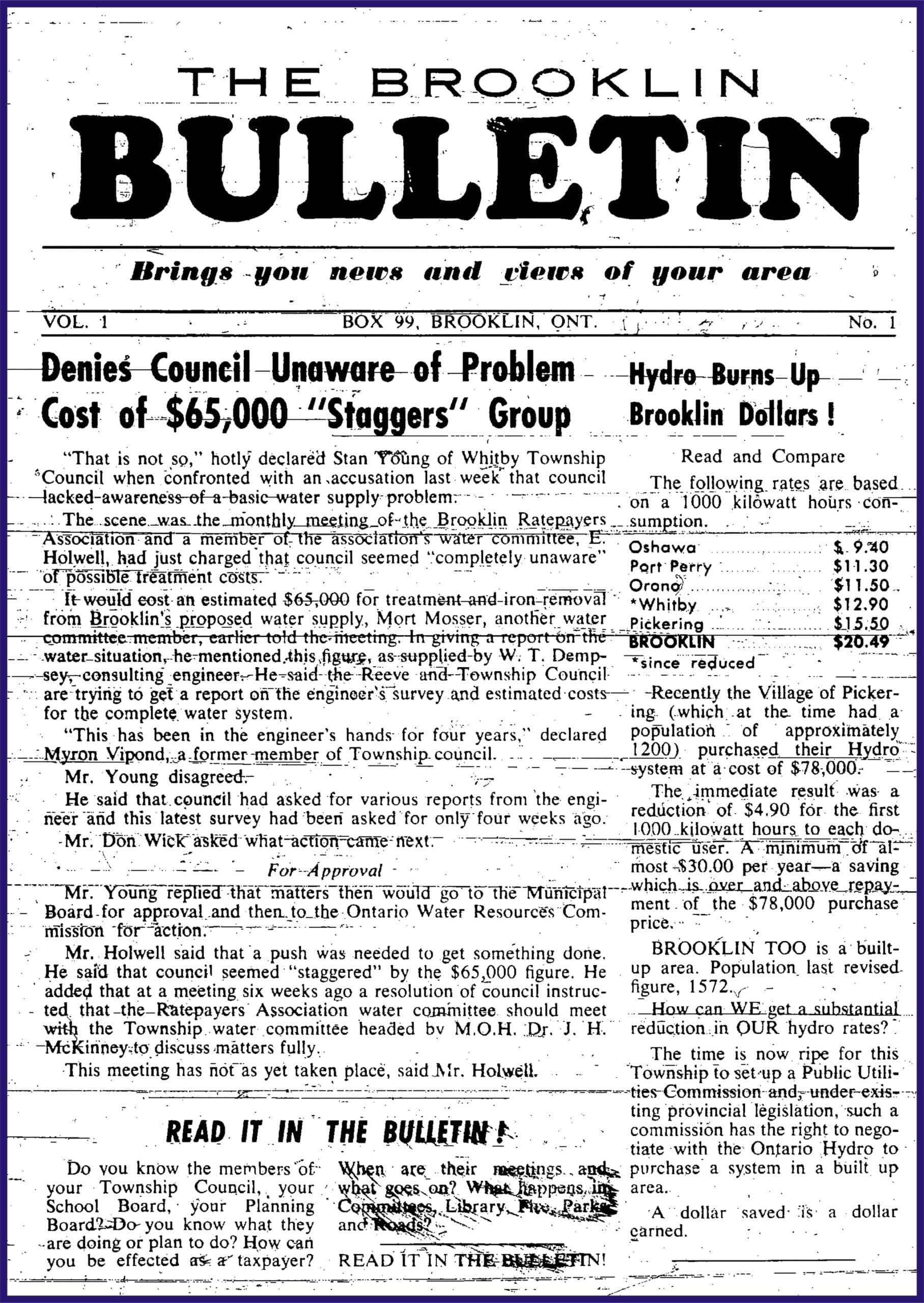 The Brooklin Bulletin Newspaper vol 1, issue 1, 1958