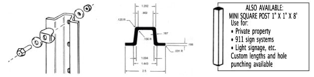 U Channel Sign Poles and Mounting Hardware