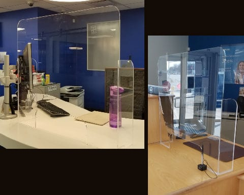 Acrylic plexi glass COIVD safety barrier